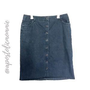 Button Down Dark wash Denim Pencil Skirt